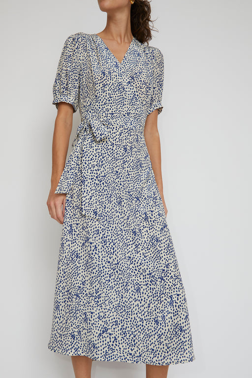 No.6 Lucia Dress in White with Blue Dots