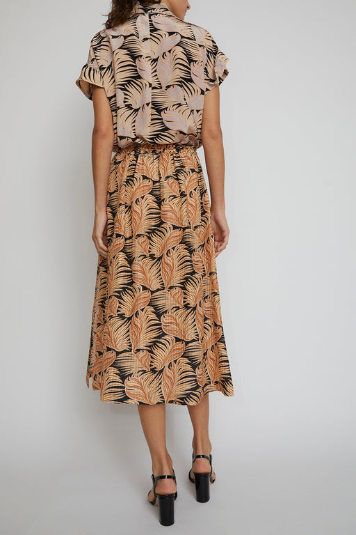 No.6 Meg Skirt in Brown Fern Silk Crinkle