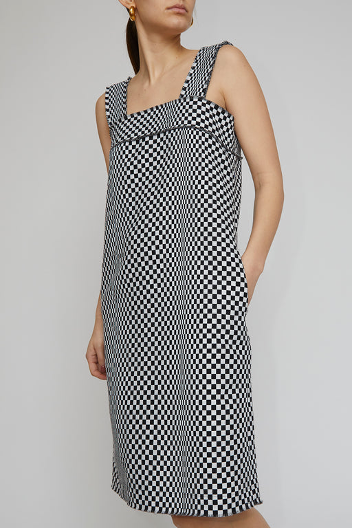 No.6 Rita Dress in Black Checkerboard Jacquard