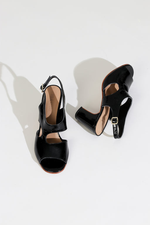 No.6 Cleo Heel in Black Crinkle