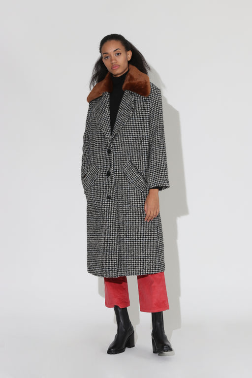 No 6 Edgar Boucle Coat Black Houndstooth
