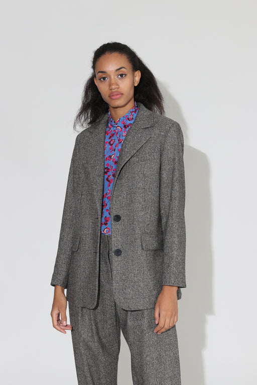 No 6 Leon Tweed Blazer Charcoal