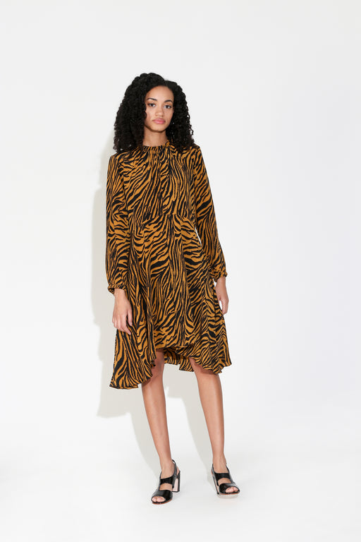 No.6 Luna Dress in Tobacco Black Zebra