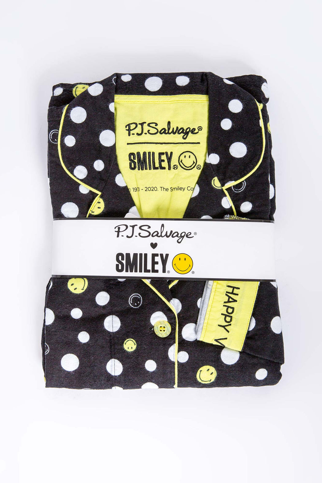 PJ-Salvage-Smiley-Flannel-PJ-Set-Black-1