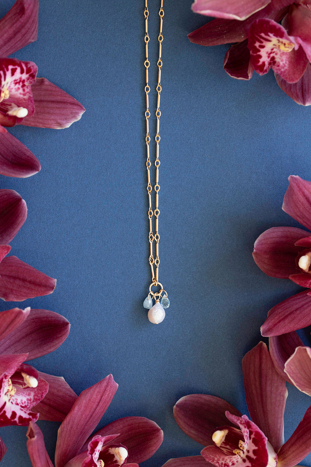 "18"" Bar Link Pearl Stone Drop Necklace"