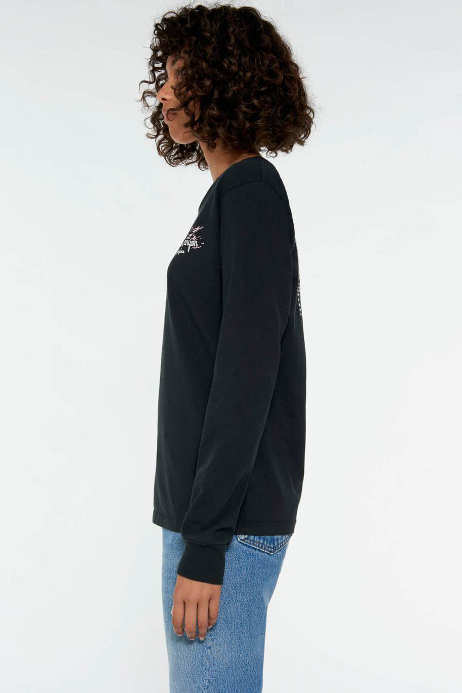 RE/DONE 90s Long Sleeve Palm Canyon Tee in Washed Black