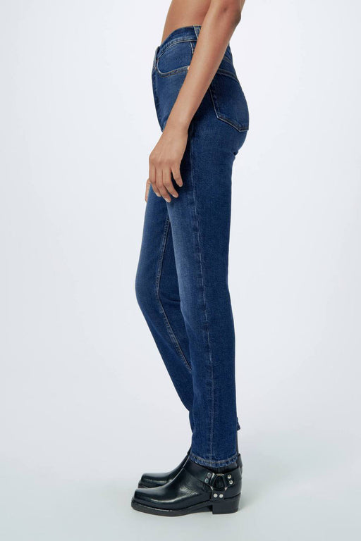 RE/DONE Comfort Stretch High Rise Ankle Crop Jean in Midnight Blue