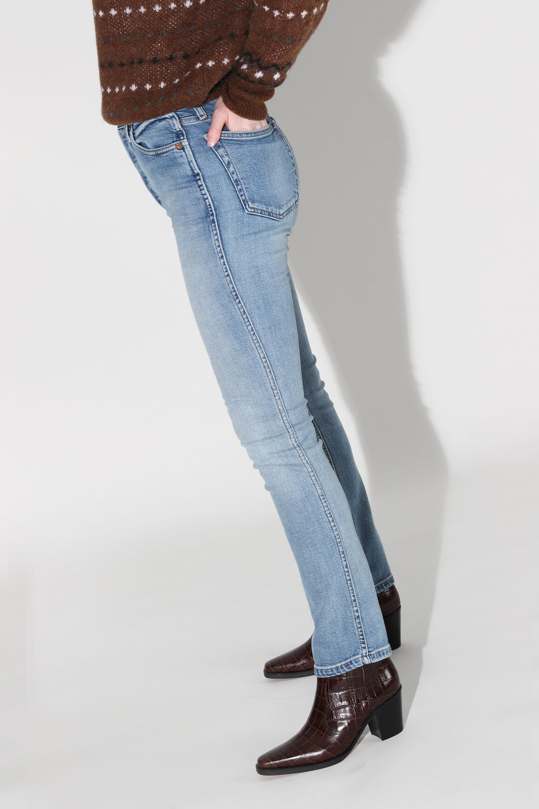 Redone Comfort Stretch Double Needle Long Jean Hazey Indigo