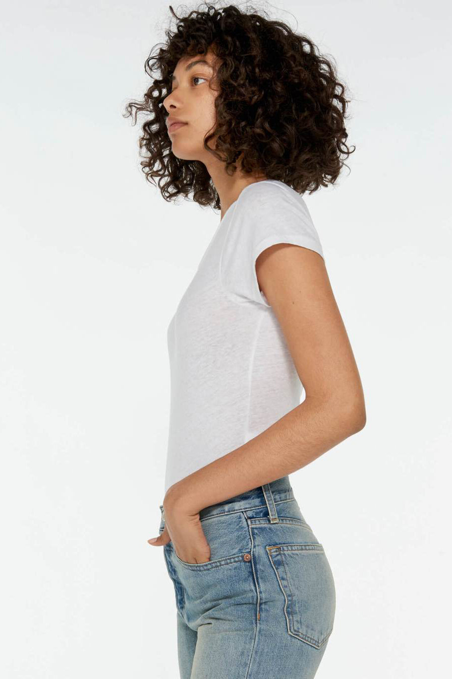 RE/DONE Heritage Cotton 1960's Slim Tee Bodysuit in Optic White