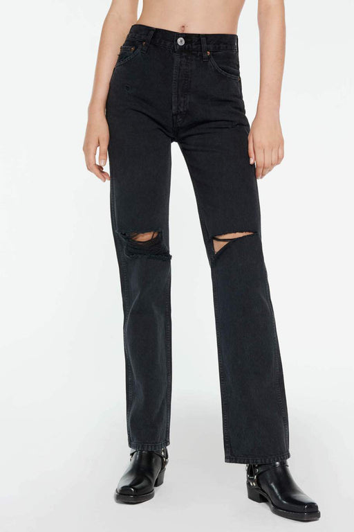 RE/DONE High Rise Loose Jean in Washed Black