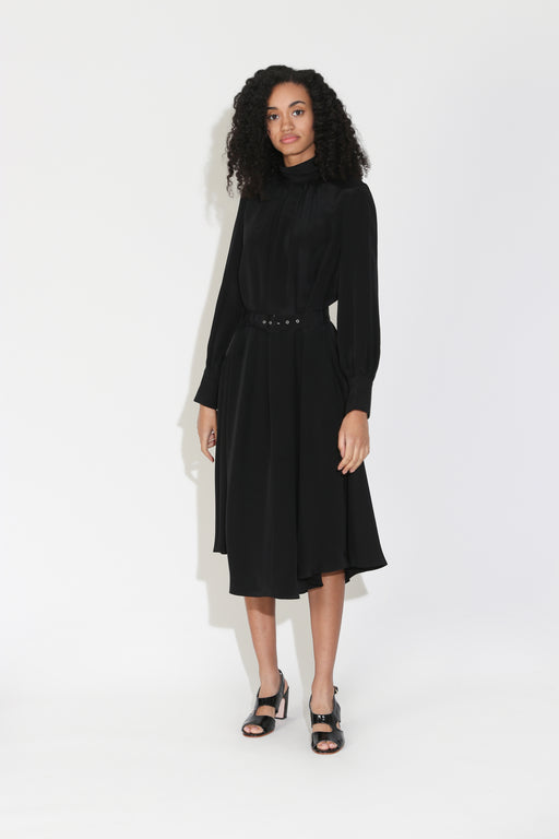 Rachel Comey Gather Dress in Black Silk Crepe