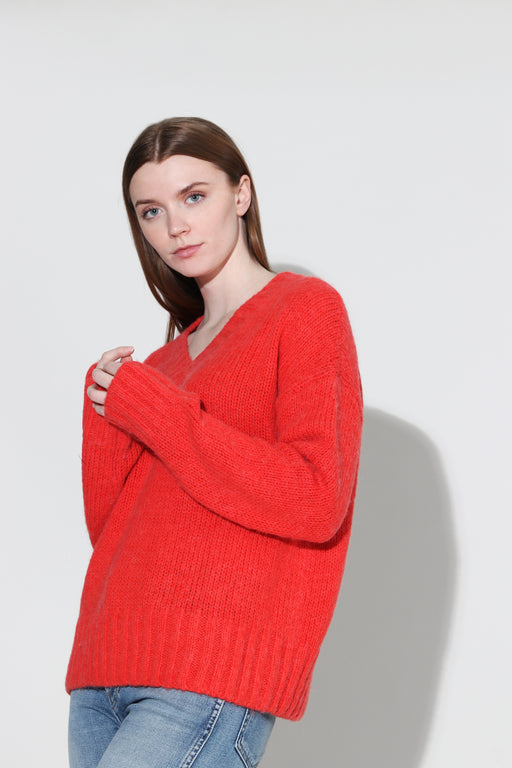 Redone 90's Oversized Vneck Pullover Red Orange