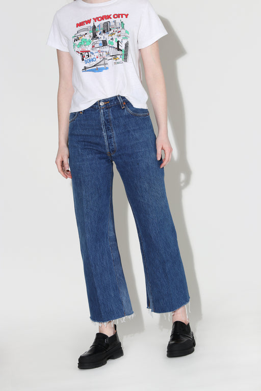 Redone High Wide Crop Jean Indigo