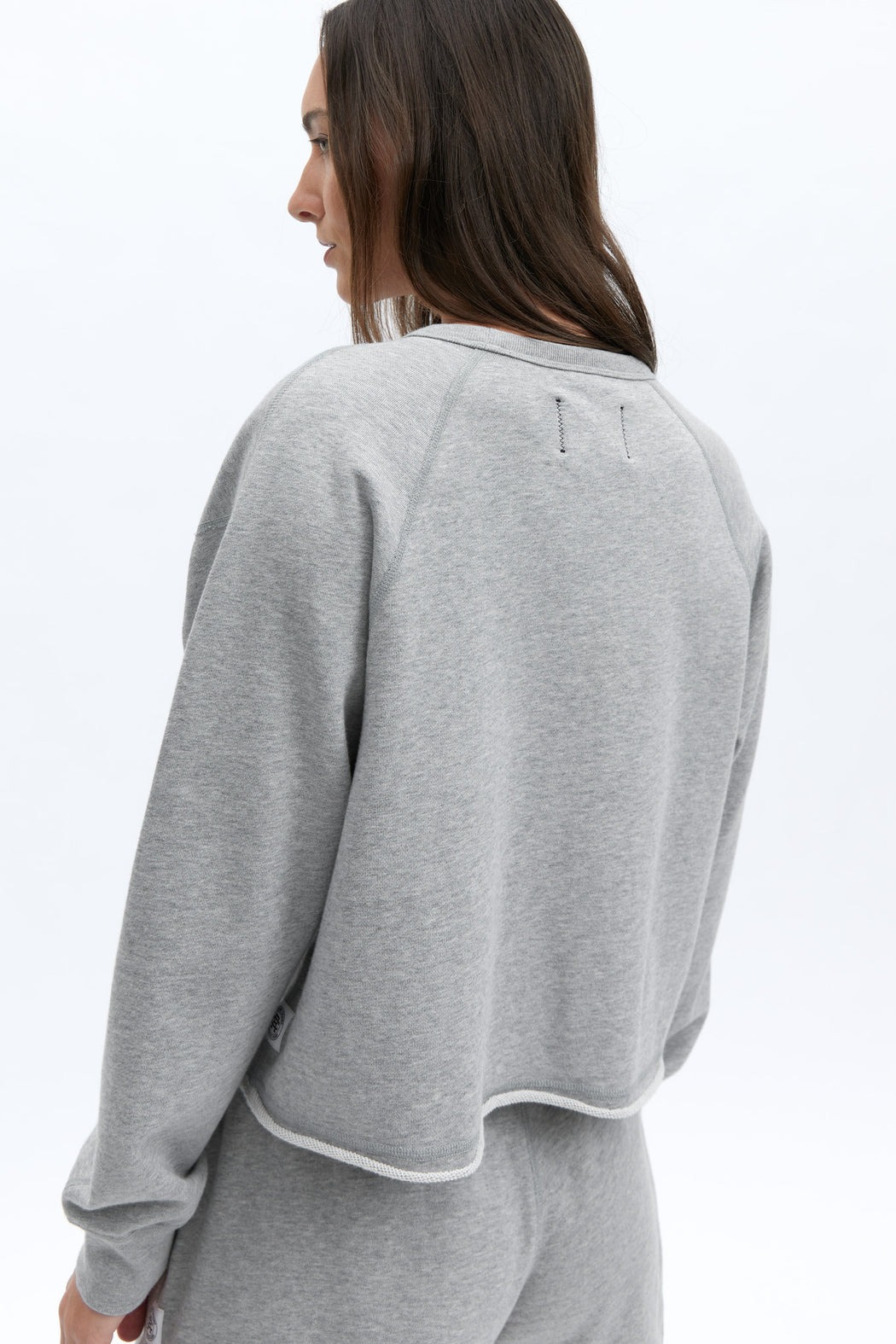 Reigning Champ Cut-Off Crewneck in Heather Grey