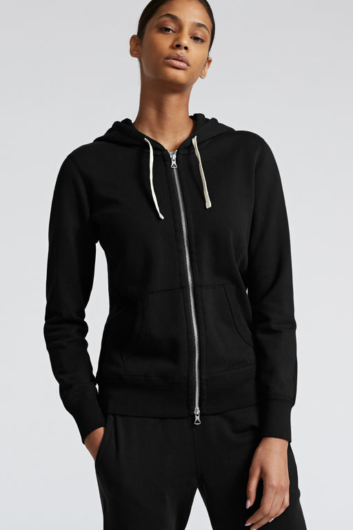 Reigning Champ Lightweight Full Zip Hoodie in Black