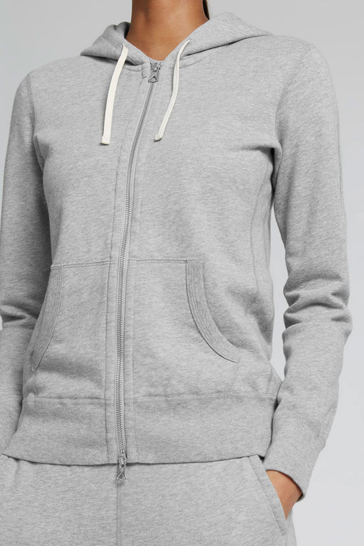Reigning Champ Lightweight Full Zip Hoodie in Heather Grey