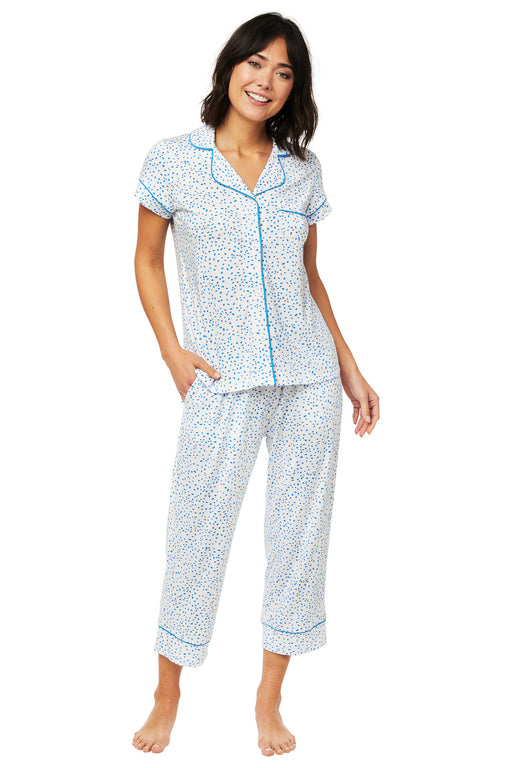 The-Cats-Pajamas-Confetti-Dot-Pima-Knit-Capri Set-Blue