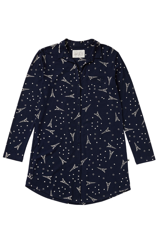 The-Cats-Pajamas-Etoile-Pima-Knit-Night-Shirt-Navy-White