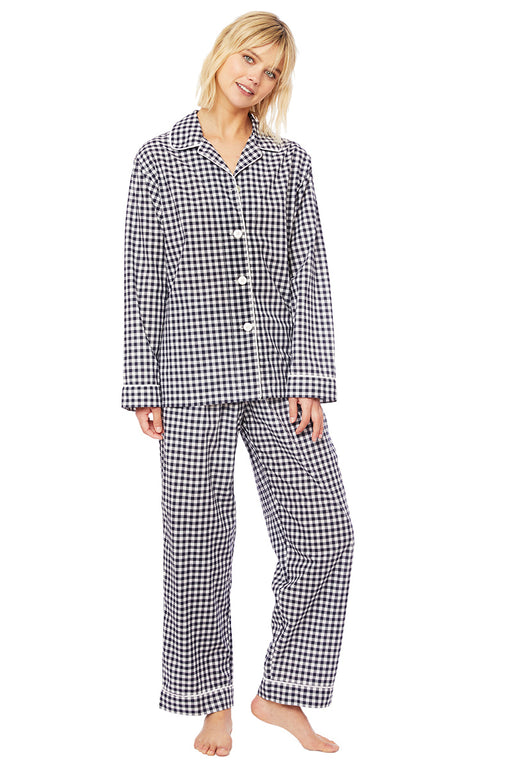 The-Cats-Pajamas-Gingham-Luxe -Pima-Cotton-Pajama-Set-Black