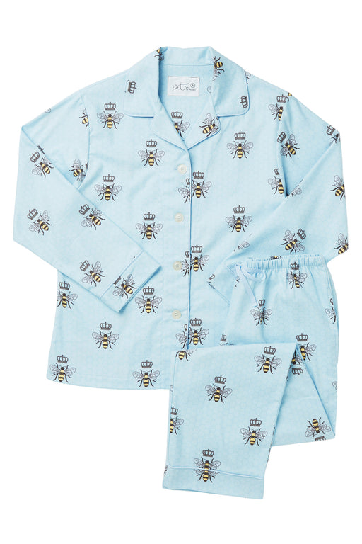The-Cats-Pajamas-Queen-Bee-Luxe-Pima-Pajama-Set-Blue