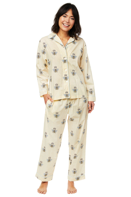 The-Cats-Pajamas-Queen-Bee-Luxe-Pima-Pajama-Set-Yellow