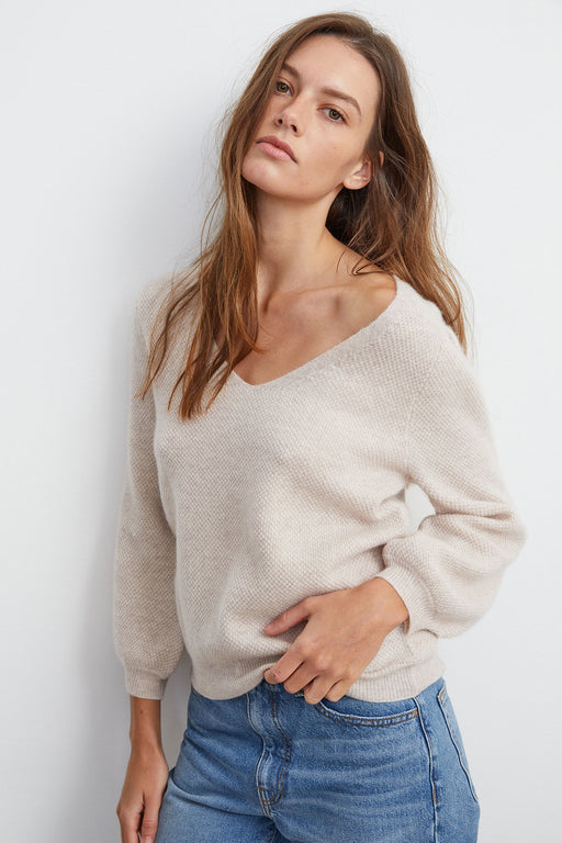 Velvet-Yelene-Cashmere-V-Neck-Sweater-Cobble