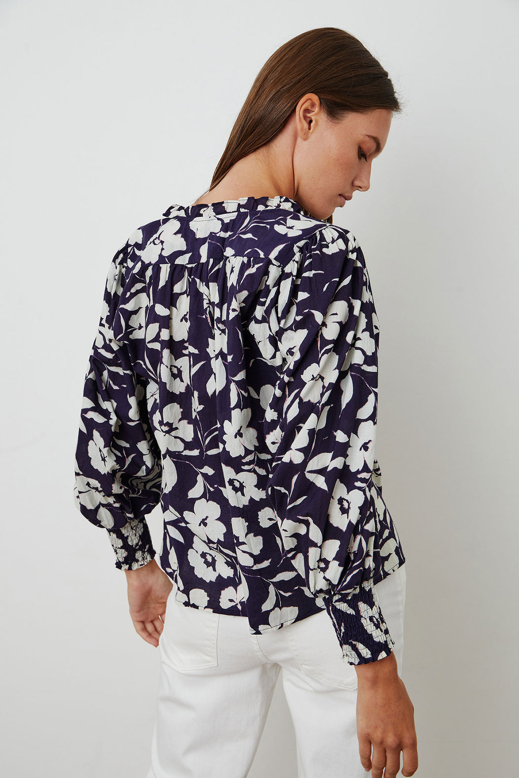 Velvet-by-Graham-Spencer-Anissa-Printed-Cotton-Voile-Top-Navy