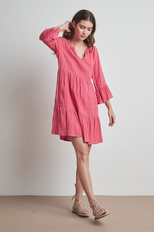 Velvet by Graham & Spencer Aurora Woven Linen Tiered Dress in Calypso