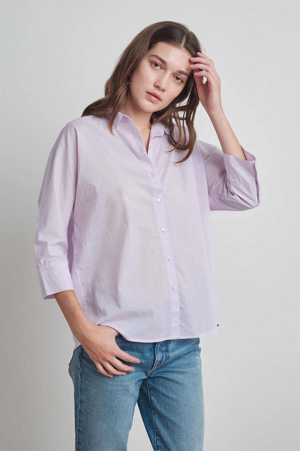 Velvet by Graham & Spencer Carey Woven Cotton Button Up Shirt in Lilac