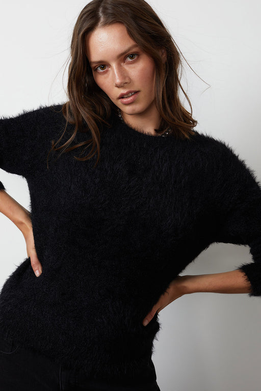 Velvet-by-Graham-Spencer-Elle-Feathered-Yarn-Cropped-Cardigan-Black