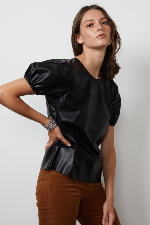 Velvet-by-Graham-Spencer-Foley-Vegan-Leather-Blouse-Black