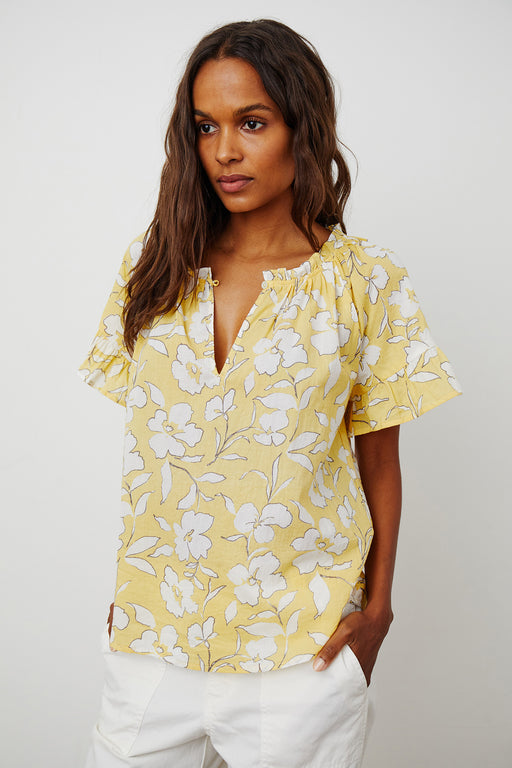Velvet-by-Graham-Spencer-Idette-Printed-Cotton-Voile-Top-Yellow