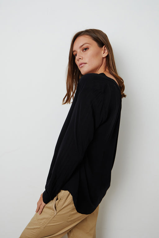 Velvet-by-Graham-Spencer-Lenae-Split-Neck-Blouse-Black