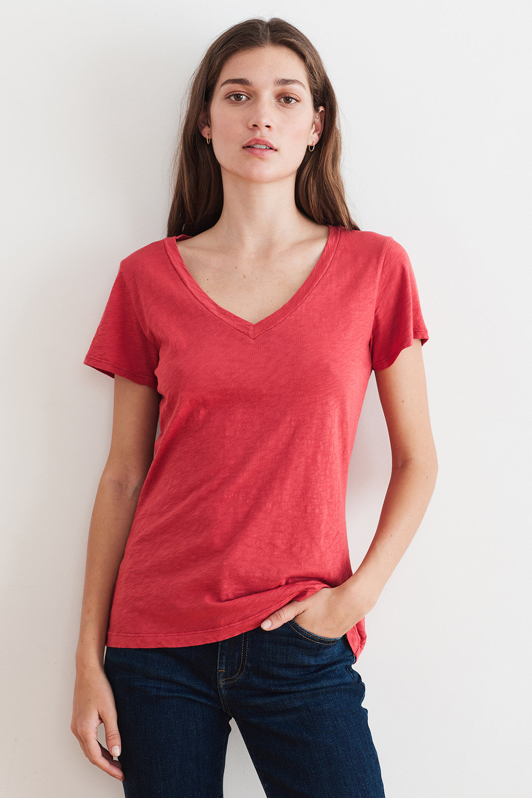 Velvet by Graham & Spencer Lilith Cotton Slub V-Neck Tee in Blossom