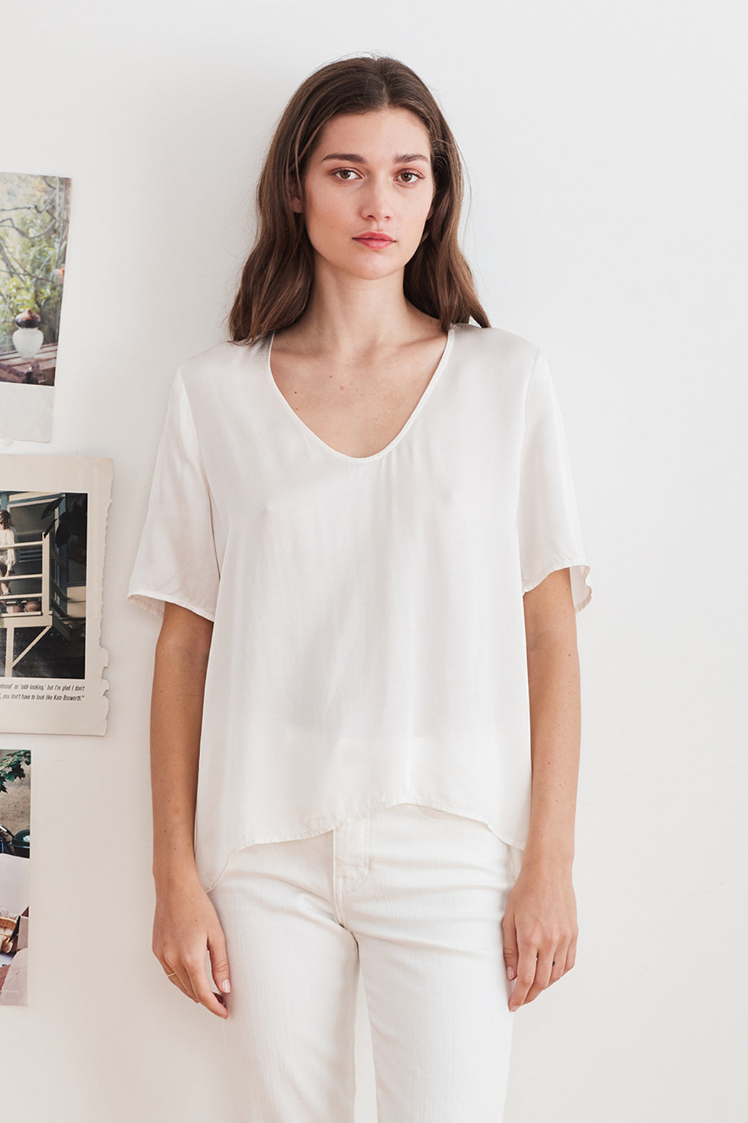 Velvet by Graham & Spencer Tita Satin Viscose Scoop Neck Top in Cream