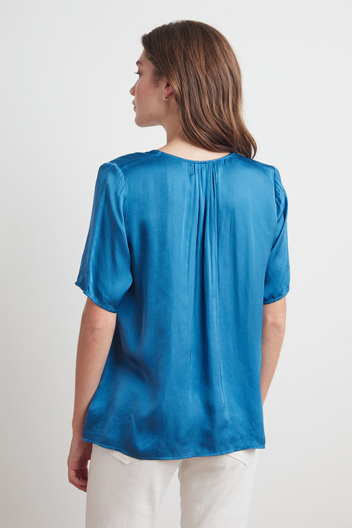 Velvet by Graham & Spencer Tita Satin Viscose Scoop Neck Top in Marina