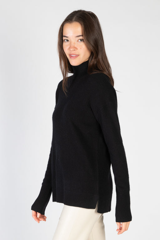 White-Warren-Cashmere-Side-Slit-Standneck-Black