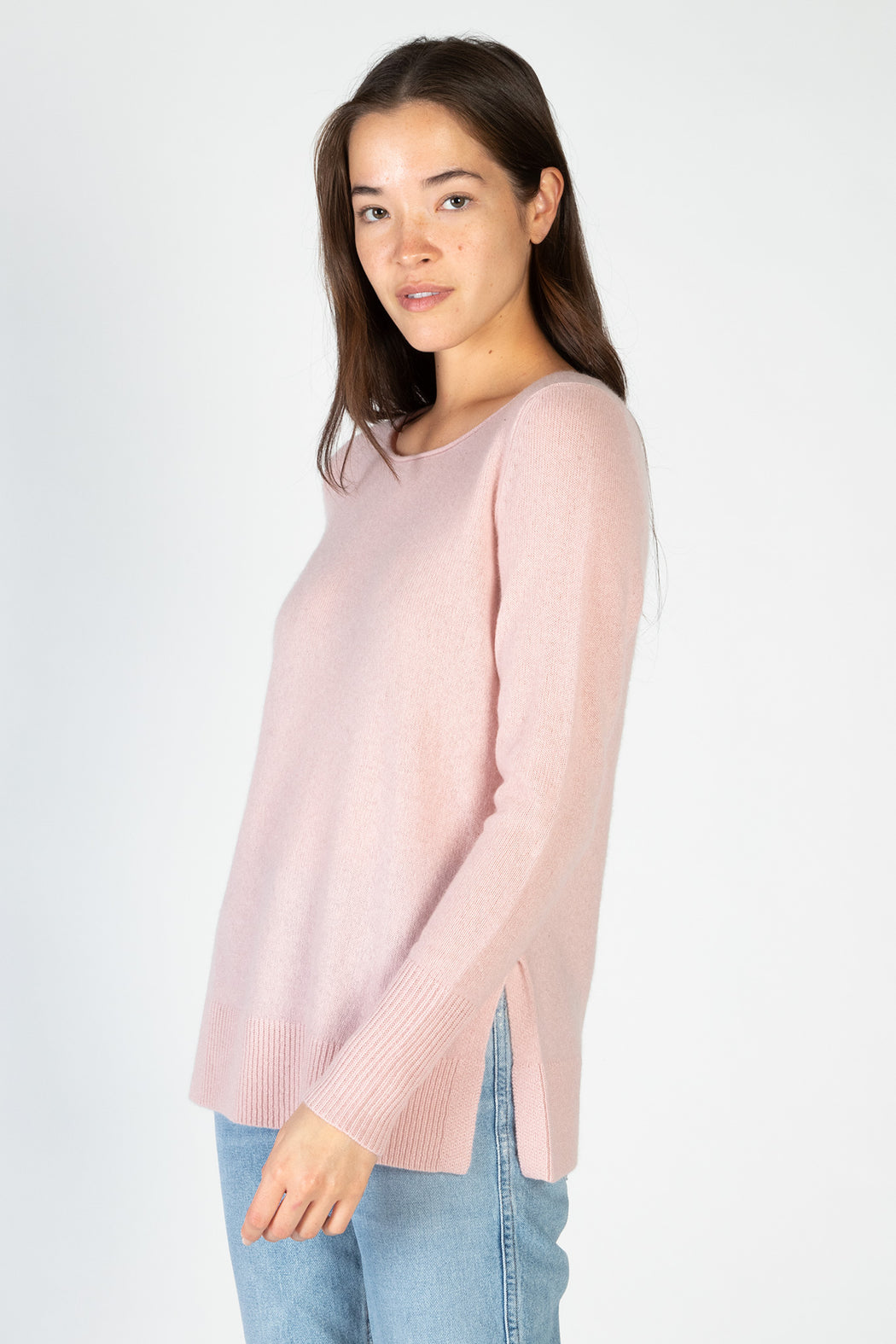 White-Warren-Cashmere-Side-Split-Open-Crewneck-Ballet-Pink