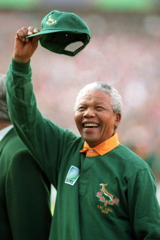 Nelson Mandela wearing South African Rugby Jersey