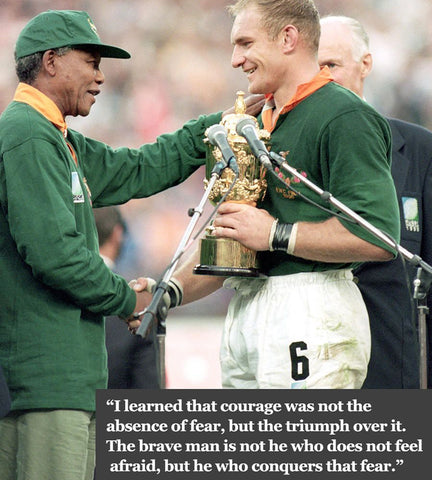 Nelson Mandela visits South Africa Rugby Team