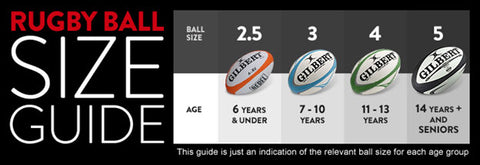 Rugby Balls side by side to show different size balls from 3 to size 5
