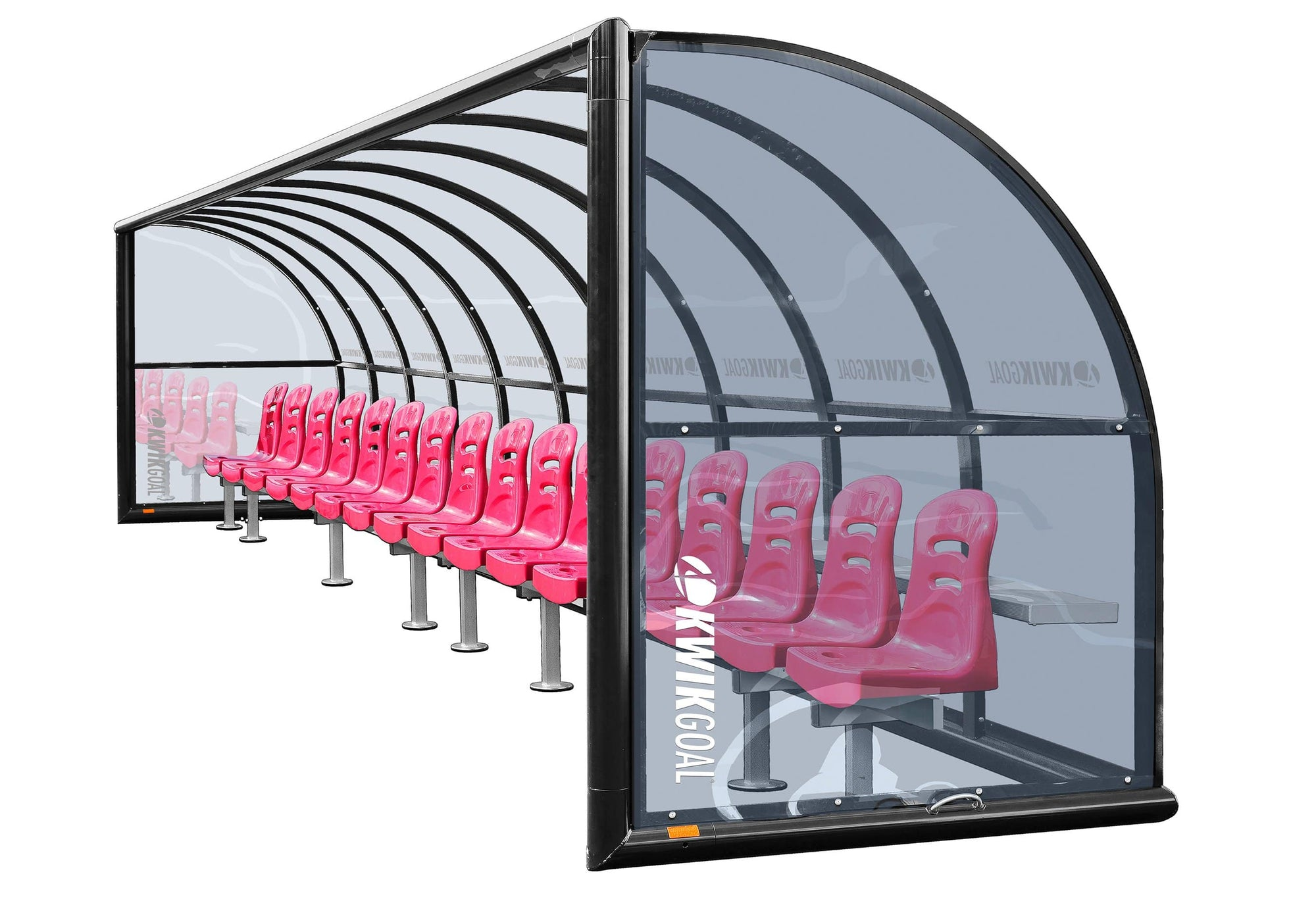 Grey-tinted Polycarbonate Shelter With Red Molded Polypropylene Seats