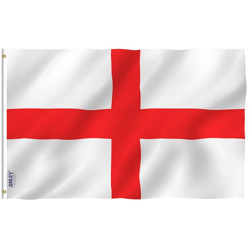 Red and White England Rugby Fan Flag Complete Image