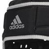 Close Up View of Silver Adidas Logo on Black Rugby Scrum Cap