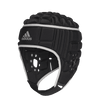 Alternate Front View of Black Rugby Scrum Cap Silver Adidas Logo