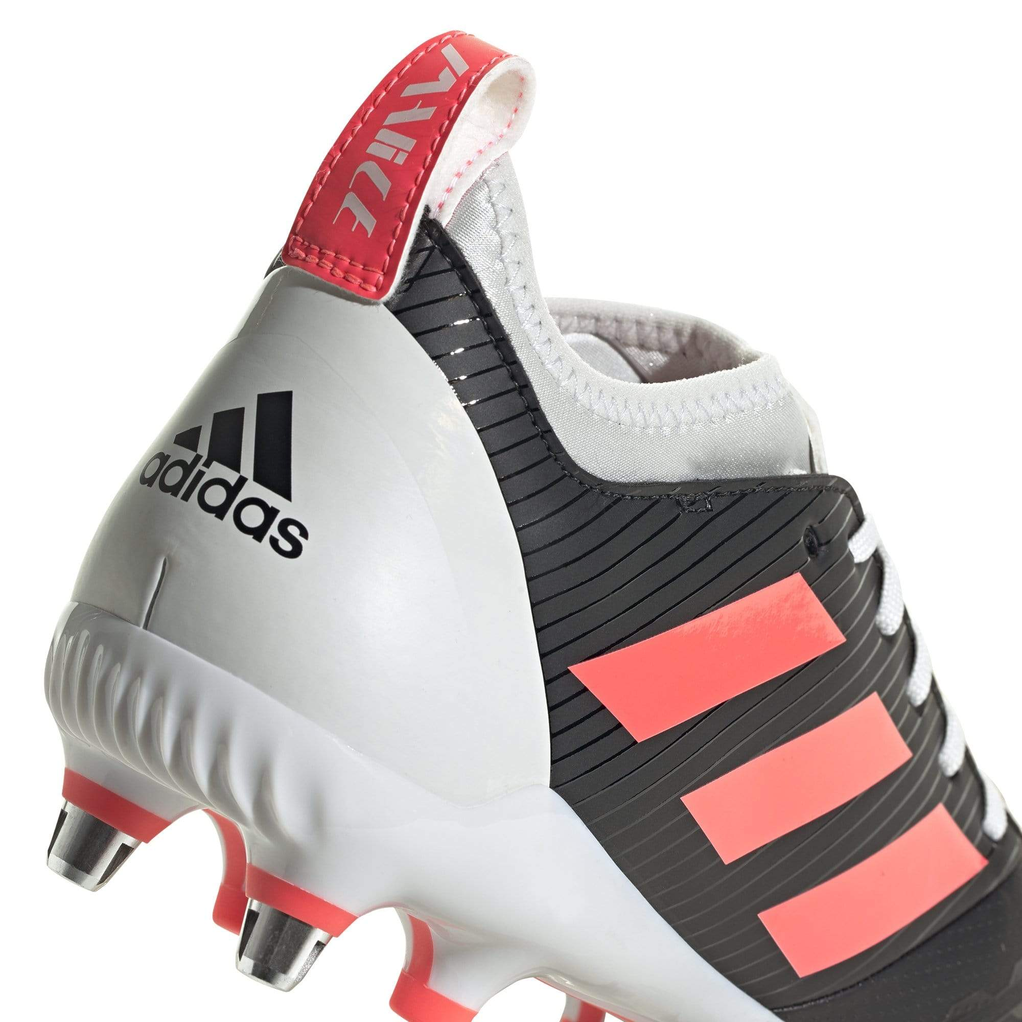 Alternate View of Back of Rugby Boot White Back, Black Side, Pink Stripes