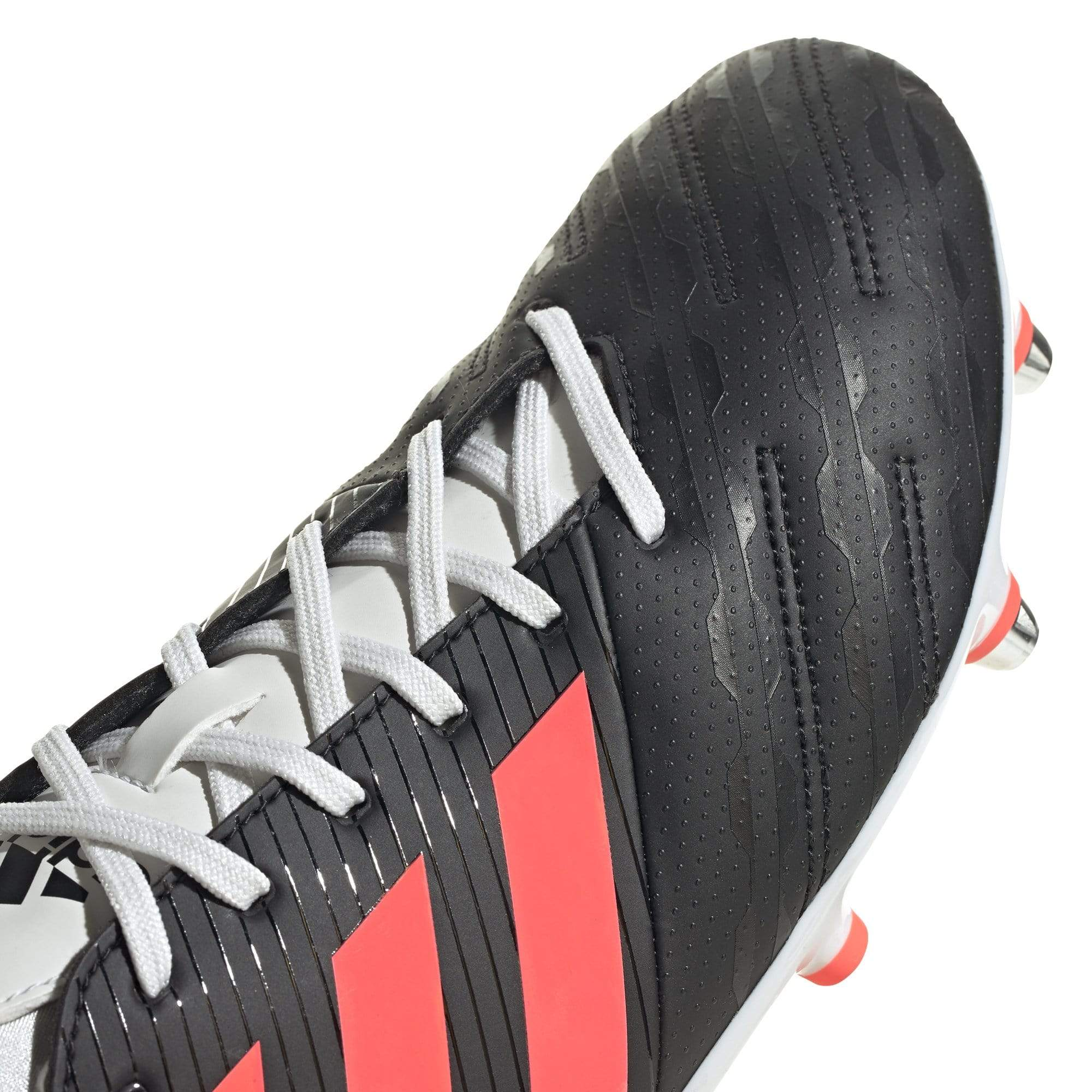 Front of Adidas Rugby Boot Black Toe, White Laces, Pink Stripes
