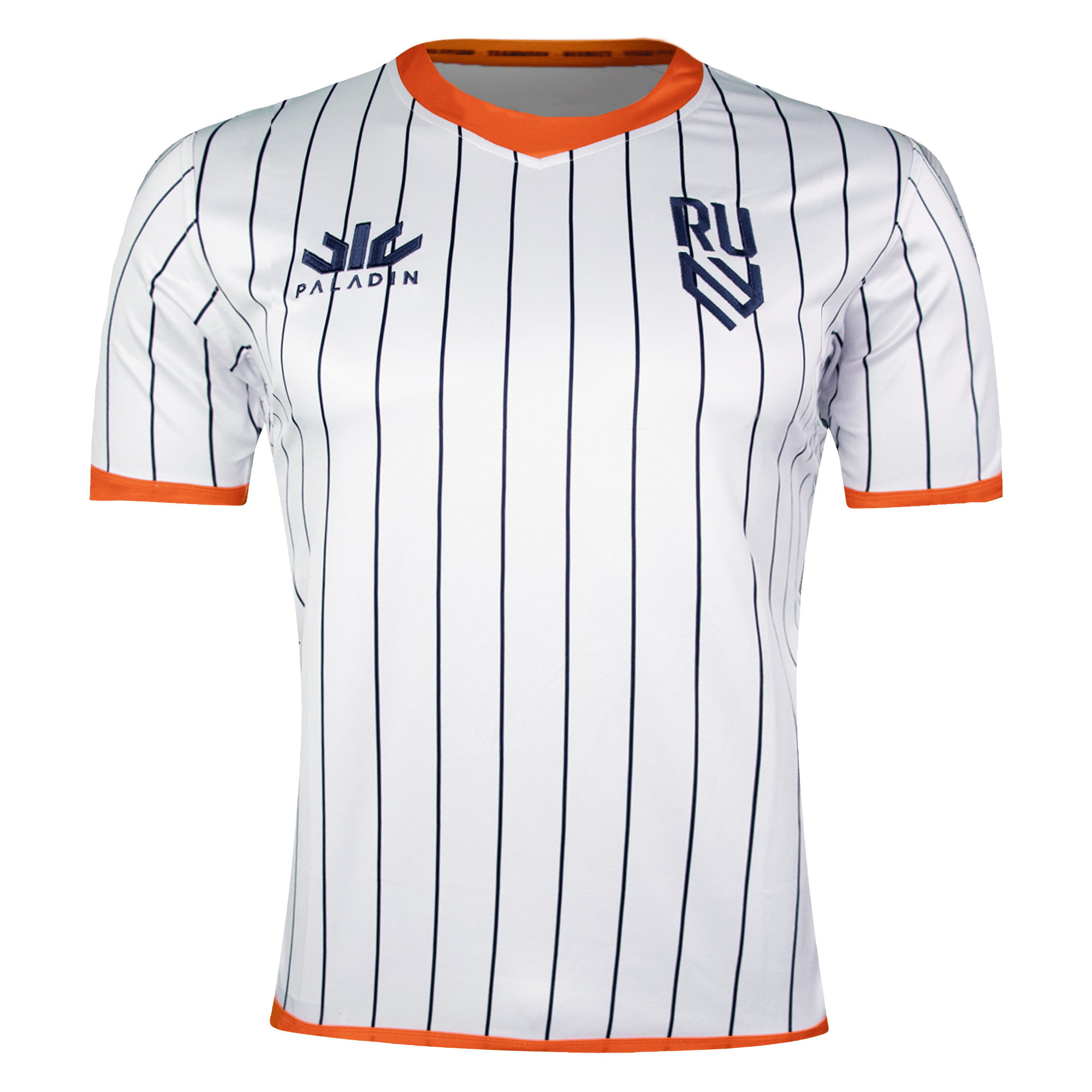 Paladin Rugby United NY Away Jersey White With Navy Pinstripe & Orange Trim