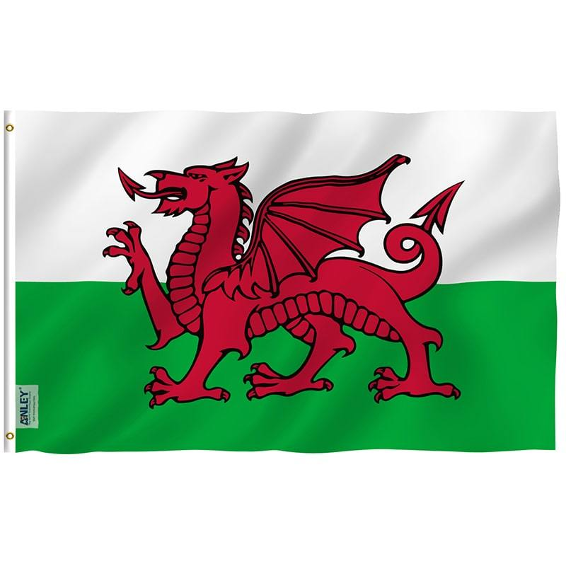 Wales Rugby Fan Flag White & Green Flag With Red Dragon