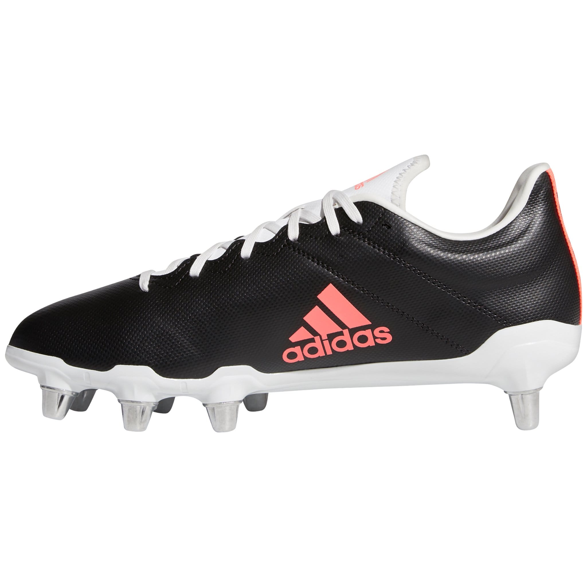 Side View Black Rugby Boots With Pink Adidas Logo